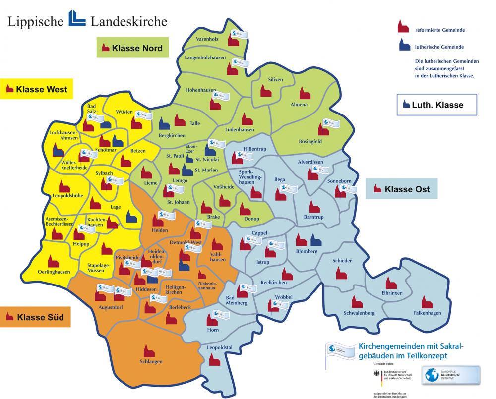 Karte der Landeskirchen mit Teilnehmenden Kirchengemeinden